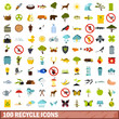 100 recycle icons set, flat style