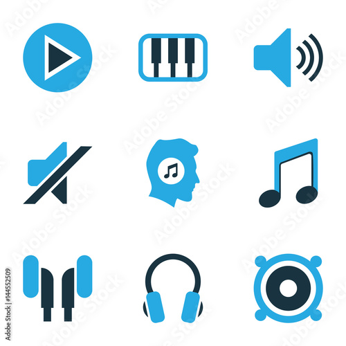Multimedia Colored Icons Set Collection Of Speaker Play Music