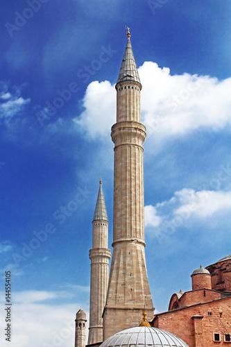 Fotografia  MInaret of the Hagia Sophia, Istanbul, Turkey