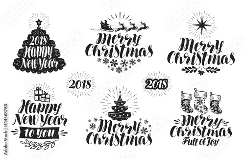 merry christmas and happy new year label set xmas holiday icon or logo