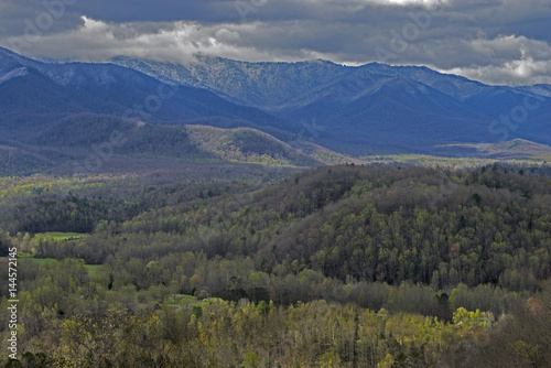 Snow capped mountains and green valleys in the Smokies. #144572145