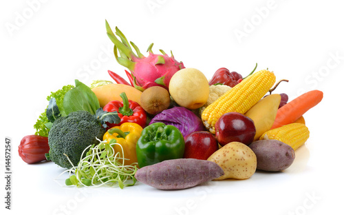 vegetables and fruits on white background © sommai