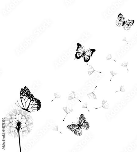 Naklejka na szafę Mniszek lekarski z motylami