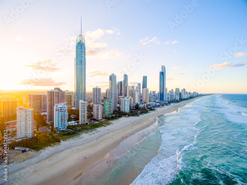 Fényképezés  Surfers Paradise on the Gold Coast from an aerial perspective.