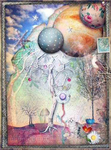 Photo sur Aluminium Imagination Fairy tales meadow with magic tree and cat