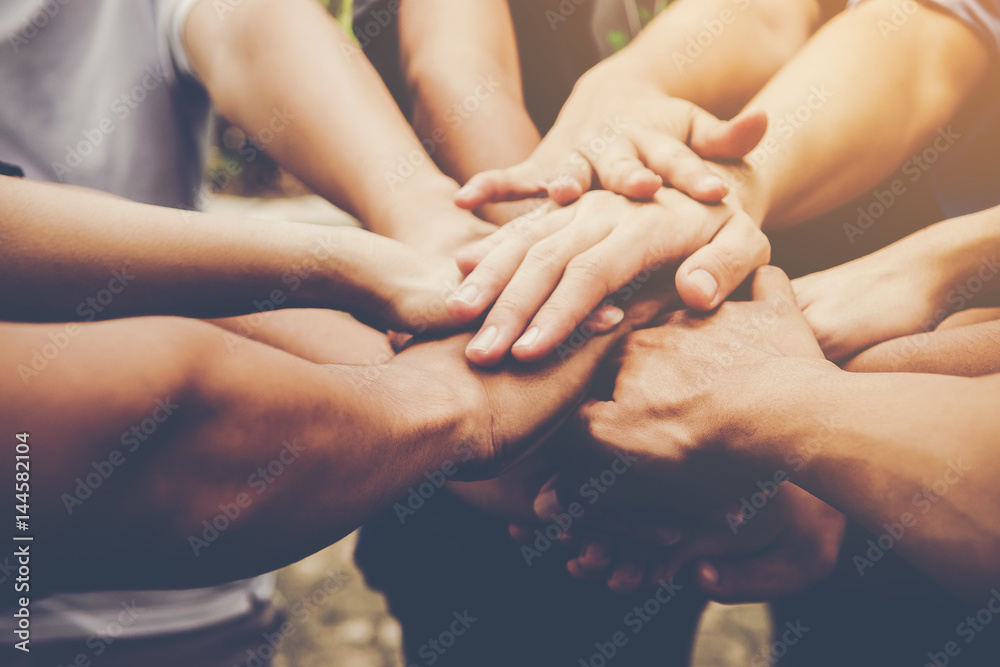 Fototapety, obrazy: Business teamwork join hands together. Business teamwork concept