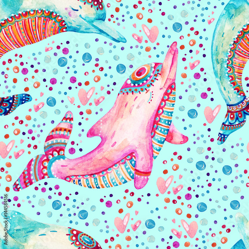 Obraz na płótnie Watercolor lovely dolphins seamless pattern on background with bubbles