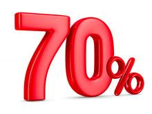 Seventy Percent On White Background. Isolated 3D Illustration