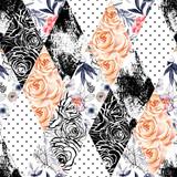 Streszczenie akwarela i atrament doodle kwiaty, liście, tło chwasty. - 144585155