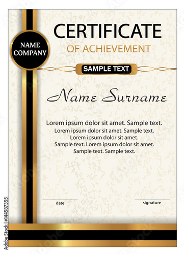 certificate of achievement diploma vertical template with gold and black ribbon reward