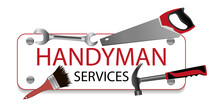 Professional Handyman Services Logo. Hammer, Brush, Spanner And Saw. A Sign Nailed. Repair Tool. Vector