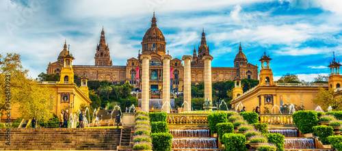 Aerial top view of Barcelona, Catalonia, Spain in the spring. The Palau National, National Palace, National Art Museum of Catalonia