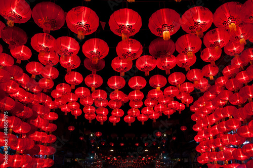 Chinese red lanterns hang for decorate