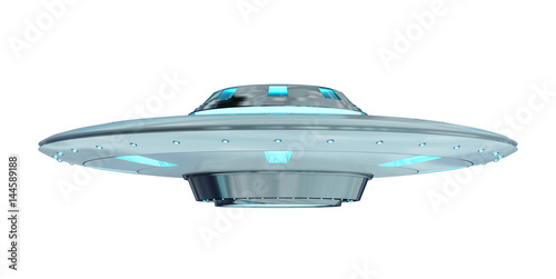 Tuinposter UFO Vintage UFO isolated on white background 3D rendering