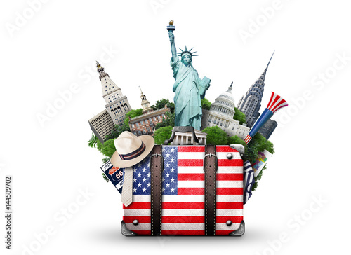Photo sur Toile Amérique Centrale USA, vintage suitcase with American flag and landmarks