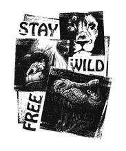 Animals. Hand Drawn Collage. V...