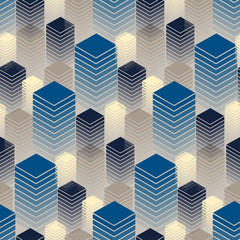 Fototapetaseamless with rows of buildings in blue and ivory