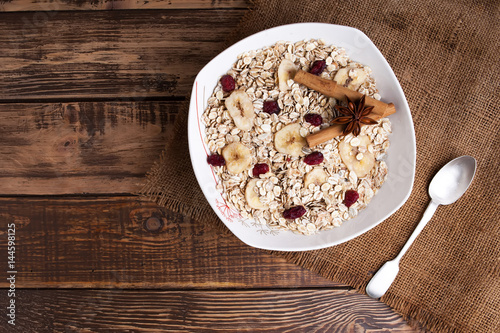 Fototapety, obrazy: oats plate with fruits