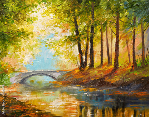 Poster Miel Oil painting landscape - autumn forest near the river, orange leaves
