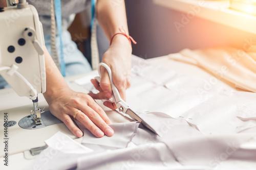 Fotografia, Obraz pattern, scissors, tape measure, and a sewing machine
