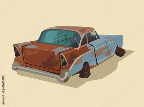 Staande foto Cartoon cars Old rusty broken car. Vector flat cartoon illustration