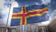 Aland Islands Flag 3D Rendering on Blue Sky Building Background