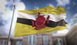 Brunei Flag 3D Rendering on Blue Sky Building Background