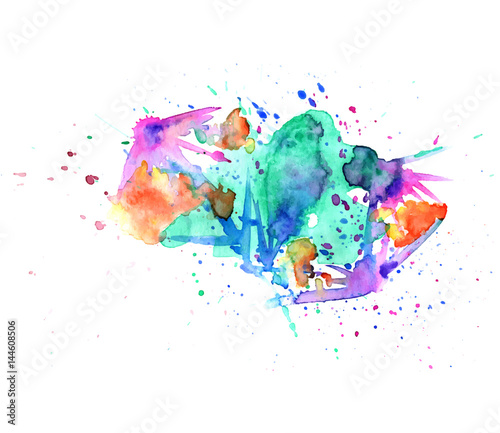 Colorful abstract watercolor texture stain with splashes and spatters. Modern creative watercolor background for trendy design.