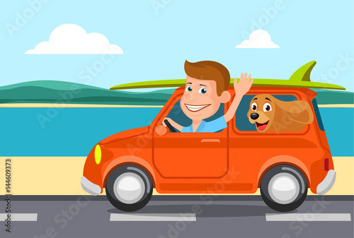 Travel on the car, a vector illustration flat style.