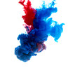 Colors dropped into liquid and photographed while in motion. Ink swirling in water. Cloud of silky ink in water isolated on white background. Colorful ink in water, an abstract banner.