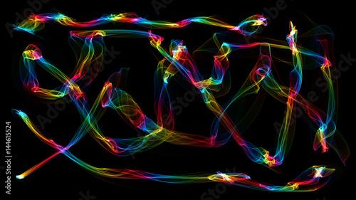 Foto op Canvas Graffiti 3D illustration of colored waves look like smoke