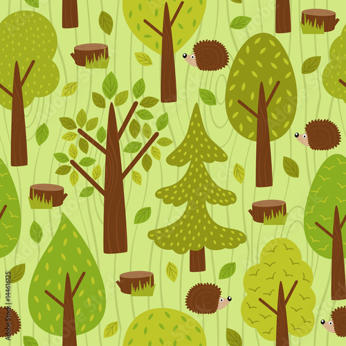 Cotton fabric seamless pattern with hedgehog in forest - vector illustration, eps