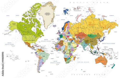 Plagát  Detailed Political World Map