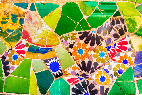 Barcelona, Catalonia, Spain: mosaic in the Park Guell of Antoni Gaudi
