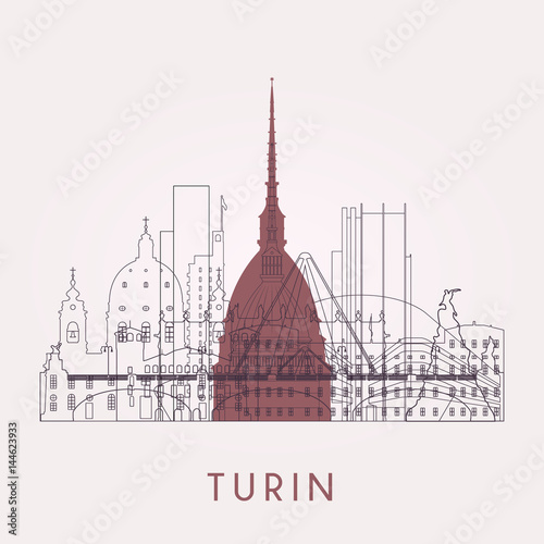 Outline Turin skyline Canvas Print