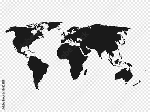 Black world map silhouette on transparent background vector black world map silhouette on transparent background vector illustration gumiabroncs Images