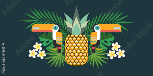 Vector illustration of tropical birds Toucans, pineapple, tropical flowers and exotic leaves. © katedemian
