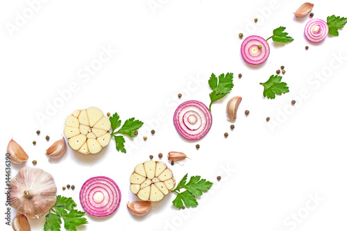 garlic, red onion, parsley and pepper isolated on white background.