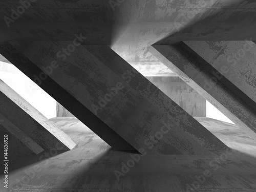 Fototapety, obrazy: Concrete architecture background. Abstract empty dark room