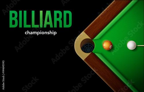 billiard table top view balls sport theme Canvas Print