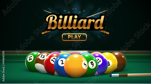 Fotomural billiard table front view balls sport theme