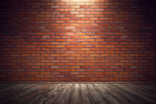 Empty Old Grungy Room With Red Brick Wall And Wooden Floor. 3d Rendering Illustration