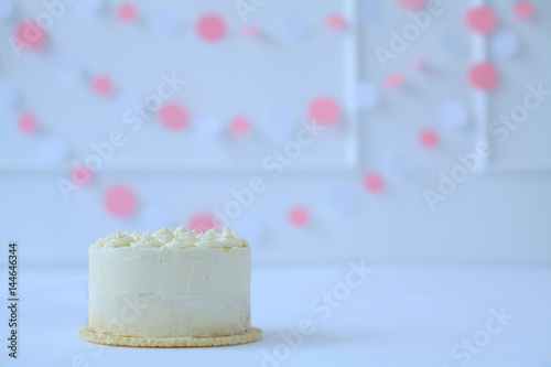 Baby White Birthday Cake Smashed By A One Year Old Shabby Fabric Streamers Blurred In The Background Kids Party Organisation