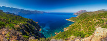 View From Famous D81 Coastal Road With View Of Golfe De Girolata From Bocca Di Palmarella, Corsica, France, Europe.