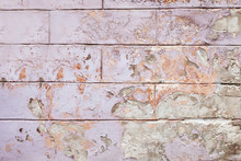Old Cracked Wall Background, The Lilac And Orange Paint Texture Is Chipping