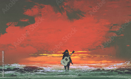 Foto op Aluminium Grandfailure woman with guitar on back standing in the sea at sunset, illustration painting