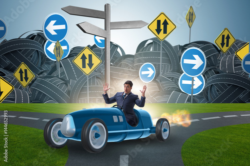 Recess Fitting Cars Confused businessman driving car im uncertainty