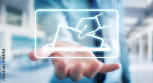Valokuva  Businessman voting using digital interface 3D rendering
