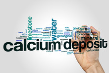 Calcium Deposit Word Cloud Concept On Grey Background