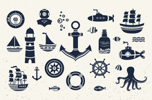 Collection Of Vintage Marine Elements.